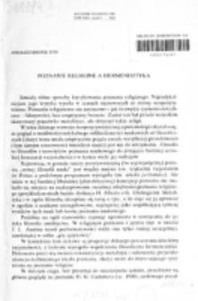 Poznanie religijne a hermeneutyka / Andrzej Bronk.