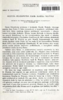 Pozycja filozoficzna kard. Karola Wojtyły : referat na Międzynarodowy Kongres Filozoficzny, Rzym, wrzesień 1980 / Jerzy W. Gałkowski.