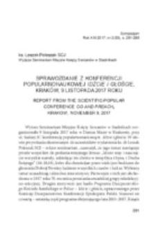 Sprawozdanie z konferencji popularno-naukowej Idźcie i głoście, Kraków, 9 listopada 2017 roku .