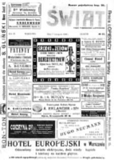 Świat : [pismo tygodniowe ilustrowane poświęcone życiu społecznemu, literaturze i sztuce. R. 3 (1908), nr 45 (7 listopada)