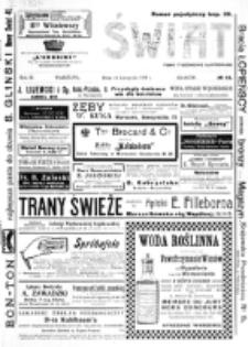 Świat : [pismo tygodniowe ilustrowane poświęcone życiu społecznemu, literaturze i sztuce. R. 3 (1908), nr 46 (14 listopada)