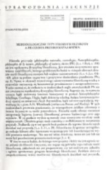 Metodologiczne typy filozofii przyrody a filozofia przyrodoznawstwa / Zygmunt Hajduk.
