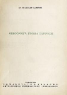 Gergonne'a teoria definicji / ks. Stanisław Kamiński.