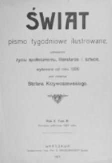 Świat : [pismo tygodniowe ilustrowane poświęcone życiu społecznemu, literaturze i sztuce. R. 2 (1907), Spis rzeczy za półrocze I-sze 1907 roku.