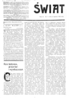 Świat : [pismo tygodniowe ilustrowane poświęcone życiu społecznemu, literaturze i sztuce. R. 4 (1909), nr 1 (2 stycznia)