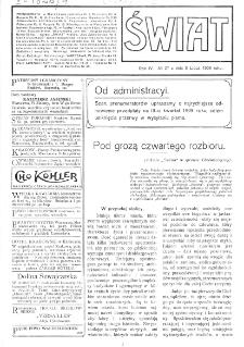 Świat : [pismo tygodniowe ilustrowane poświęcone życiu społecznemu, literaturze i sztuce. R. 4 (1909), nr 27 (3 lipca)
