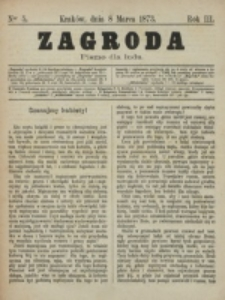 Zagroda : pismo dla ludu. R. 3, nr 5 (8 marca 1873)