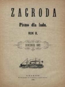 """Spis rzeczy zawartych w """"Zagrodzie"""" za rok 1872."""