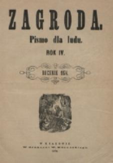 """Spis przedmiotów zawartych w """"Zagrodzie"""" z roku 1874."""