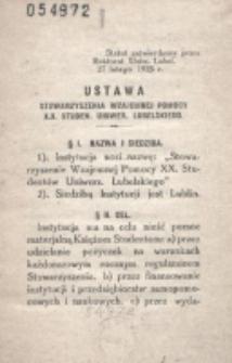 Ustawa Stowarzyszenia Wzajemnej Pomocy X.X. Studen. Uniwer. Lubelskiego.
