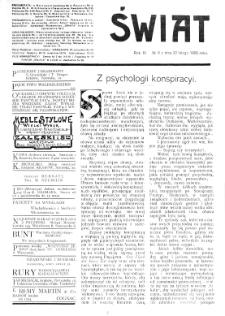 Świat : [pismo tygodniowe ilustrowane poświęcone życiu społecznemu, literaturze i sztuce. R. 4 (1909), nr 8 (20 lutego)