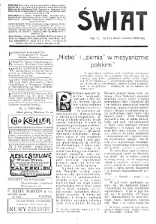 Świat : [pismo tygodniowe ilustrowane poświęcone życiu społecznemu, literaturze i sztuce. R. 4 (1909), nr 16 (17 kwietnia)