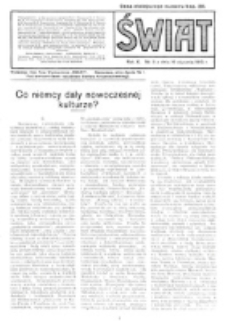 Świat : pismo tygodniowe ilustrowane poświęcone życiu społecznemu, literaturze i sztuce. R. 10 (1915), nr 3 (16 stycznia)