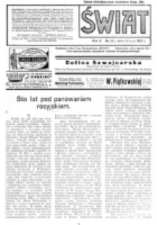 Świat : pismo tygodniowe ilustrowane poświęcone życiu społecznemu, literaturze i sztuce. R. 10 (1915), nr 29 (17 lipca)