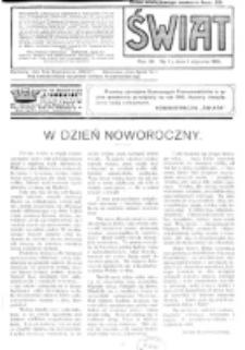 Świat : pismo tygodniowe ilustrowane poświęcone życiu społecznemu, literaturze i sztuce. R. 11 (1916), nr 1 (1 stycznia)
