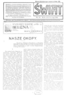 Świat : pismo tygodniowe ilustrowane poświęcone życiu społecznemu, literaturze i sztuce. R. 11 (1916), nr 8 (19 lutego)
