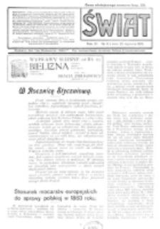Świat : pismo tygodniowe ilustrowane poświęcone życiu społecznemu, literaturze i sztuce. R. 11 (1916), nr 4 (22 stycznia)