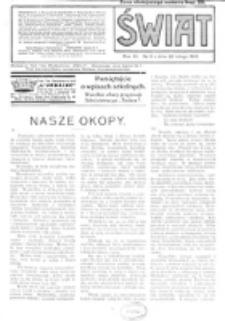 Świat : pismo tygodniowe ilustrowane poświęcone życiu społecznemu, literaturze i sztuce. R. 11 (1916), nr 9 (26 lutego)