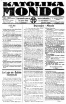 Katolika Mondo : sendependa oficiala organo por tutmondaj interesoj katolikaj : gazeto de Internacio Katolika. Jarkolekto 7, numero 1