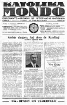 Katolika Mondo : sendependa oficiala organo por tutmondaj interesoj katolikaj : gazeto de Internacio Katolika. Jarkolekto 8, numero 1