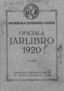 Oficiala Jarlibro. 1920