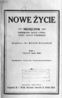 Nowe Życie : miesięcznik poświęcony nauce, literaturze i sztuce żydowskiej. R. 1, t. 1, z. 2 (lipiec 1924)