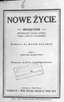 Nowe Życie : miesięcznik poświęcony nauce, literaturze i sztuce żydowskiej. R. 1, t. 1, z. 3 (sierpień 1924)