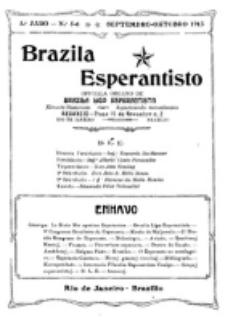 """Brazila Esperantisto : oficiala organo de """"Brazila Ligo Esperantista"""". Jaro 5, numero 5/6 (1913)"""