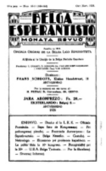 Belga Esperantisto : monata revuo, Jaro 14, nr 10/11=164/165 (1928)