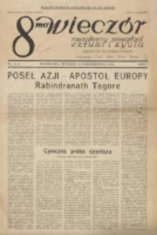 8-ma Wieczór : niezależny przegląd sztuki i życia : literatura, teatr, sport, kino, radjo. R. 1, nr 3/4 (10 Października 1926)