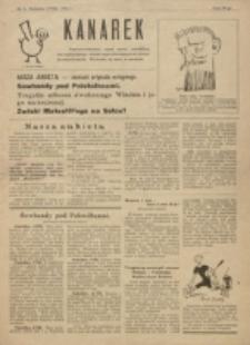 Kanarek : najniepoważniejszy organ satyry niezależnej, bez najmniejszego udziału najwybitniejszych sił literacko-artystycznych. Nr 1 (1924)