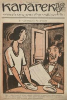 Kanarek : najniepoważniejszy organ satyry niezależnej, bez najmniejszego udziału najwybitniejszych sił literacko-artystycznych. Nr 5 (1924)