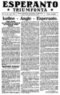 Esperanto Triumfonta : ǰurnalo internacia, universale, sendependa. 1921, no 51