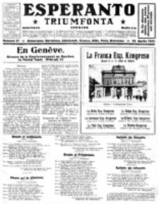 Esperanto Triumfonta : ǰurnalo internacia, universale, sendependa. 1922, no 81