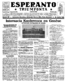 Esperanto Triumfonta : ǰurnalo internacia, universale, sendependa. 1922, no 82