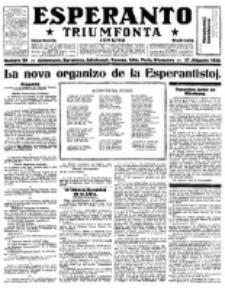 Esperanto Triumfonta : ǰurnalo internacia, universale, sendependa. 1922, no 99