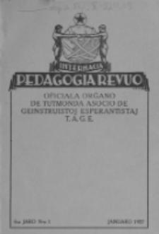Internacia Pedagogia Revuo : oficiala organo de Tutmonda Asocio de Geinstruistoj Esperantistaj (TAGE). Jaro 6, n-o 1 (Januaro 1927)