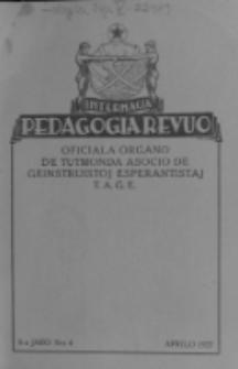 Internacia Pedagogia Revuo : oficiala organo de Tutmonda Asocio de Geinstruistoj Esperantistaj (TAGE). Jaro 6, n-o 4 (Aprilo 1927)