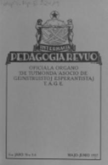 Internacia Pedagogia Revuo : oficiala organo de Tutmonda Asocio de Geinstruistoj Esperantistaj (TAGE). Jaro 6, n-o 5/6 (Majo/Junio 1927)