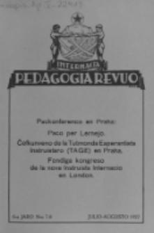Internacia Pedagogia Revuo : oficiala organo de Tutmonda Asocio de Geinstruistoj Esperantistaj (TAGE). Jaro 6, n-o 7/8 (Julio/Aügusto 1927)