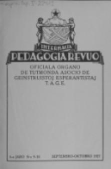 Internacia Pedagogia Revuo : oficiala organo de Tutmonda Asocio de Geinstruistoj Esperantistaj (TAGE). Jaro 6, n-o 9/10 (1927)