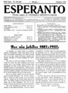 Esperanto : revuo internacia : oficiala organo de Universala Esperanto Asocio. Jaro 22, no 10=314 (Oktobro 1926)