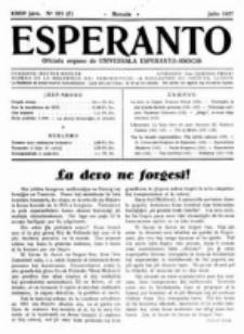 Esperanto : revuo internacia : oficiala organo de Universala Esperanto Asocio. Jaro 23, no 7=323 (Julio 1927)