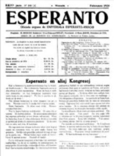 Esperanto : revuo internacia : oficiala organo de Universala Esperanto Asocio. Jaro 24, no 2=330 (Februaro 1928)