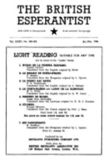 The British Esperantist : the official organ of the British Esperanto Association. Vol. 35, no 489/490 (January/February 1946)