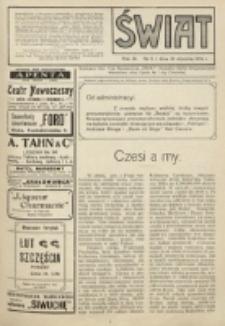 Świat : pismo tygodniowe ilustrowane poświęcone życiu społecznemu, literaturze i sztuce. R. 9 (1914), nr 5 (31 stycznia)