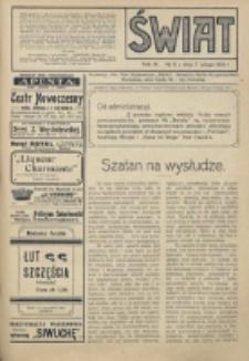 Świat : pismo tygodniowe ilustrowane poświęcone życiu społecznemu, literaturze i sztuce. R. 9 (1914), nr 6 ( 7 lutego)