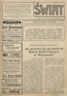 Świat : pismo tygodniowe ilustrowane poświęcone życiu społecznemu, literaturze i sztuce. R. 9 (1914), nr 8 (21 lutego)