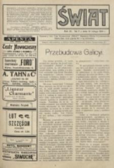 Świat : pismo tygodniowe ilustrowane poświęcone życiu społecznemu, literaturze i sztuce. R. 9 (1914), nr 7 (14 lutego)
