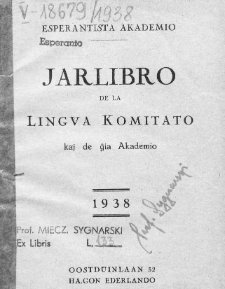 Oficiala Jarlibro. 1938